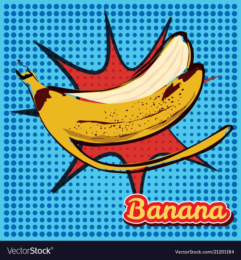 Peel Banana With A Point Texture Pop Art Style Vector Image