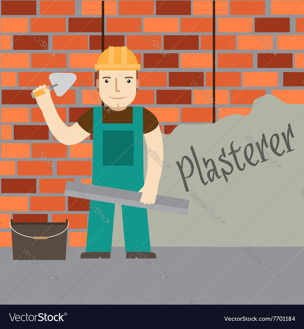 Plasterer at work vector image