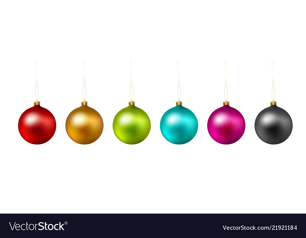 Set color christmas ball on white background
