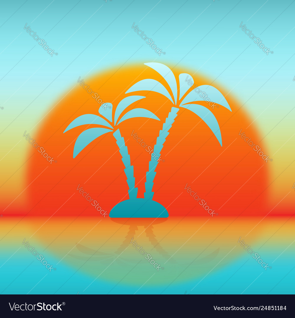 Silhouette palm tree against rising sun