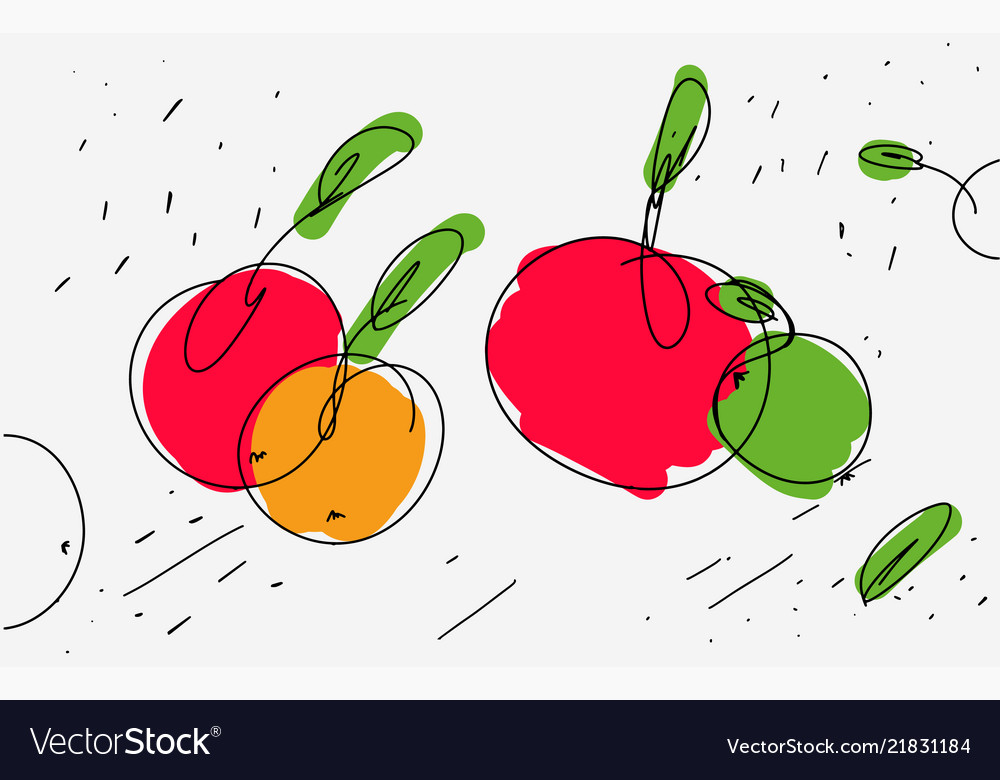 Sketch of apples in eclectic style light