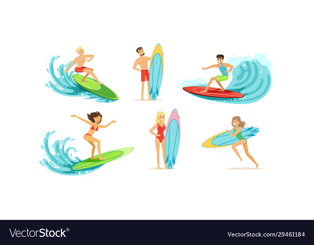 Surfing people collection male and female surfers