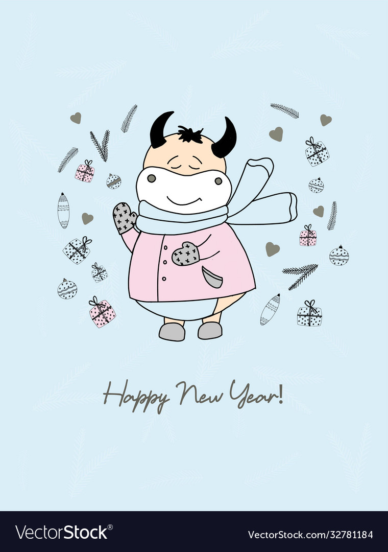 Year bull funny bulls characters cute ox