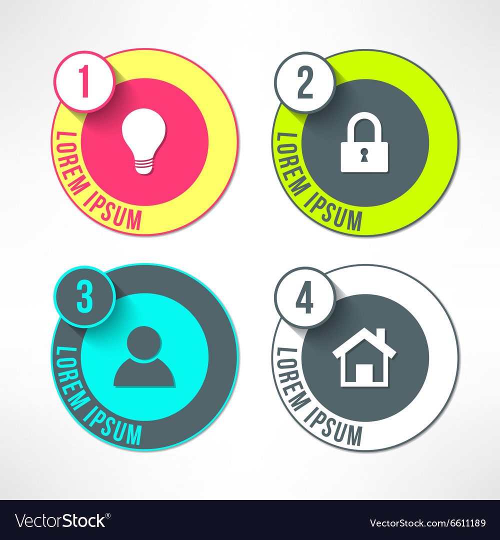 Bright infographic circles set in modern