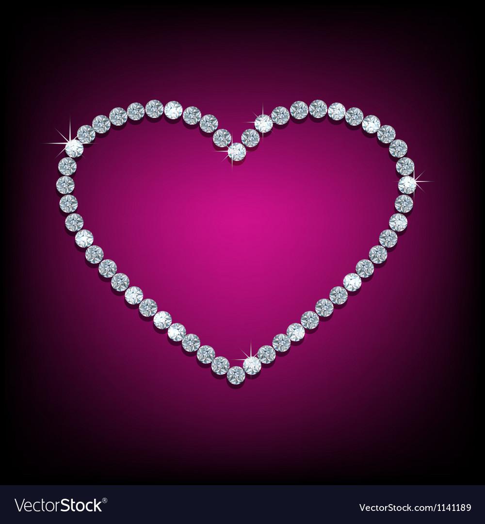 Diamond in shape of heart vector image