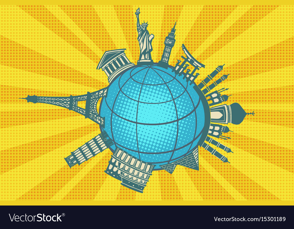 Famous landmarks of the world round planet travel