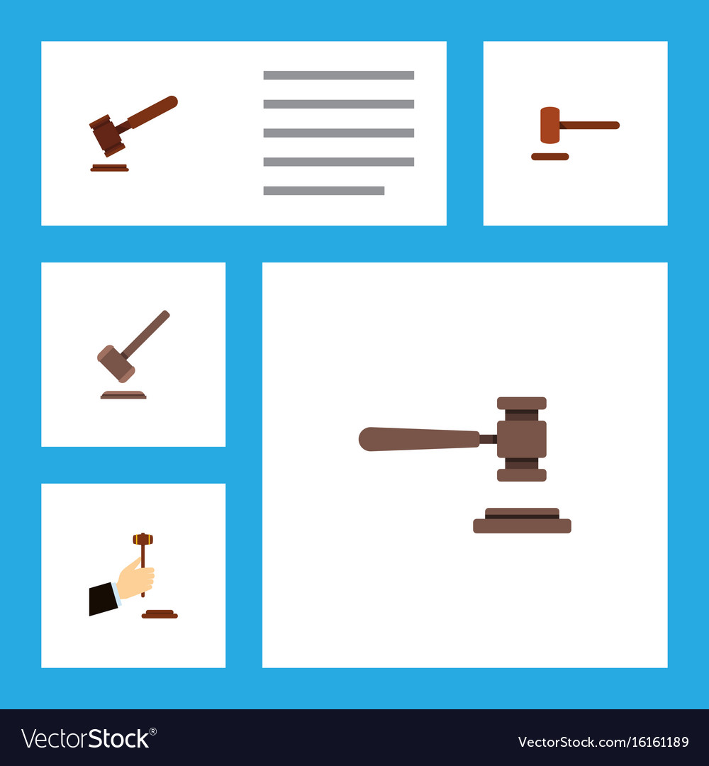Flat icon hammer set of tribunal law defense and