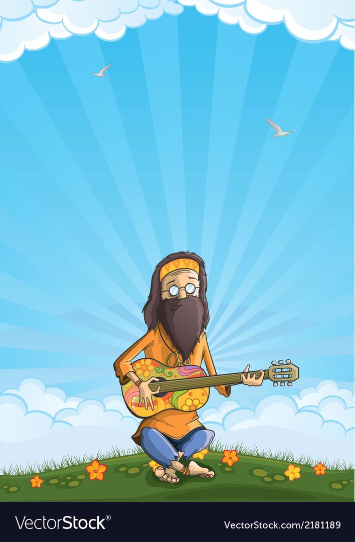 Hippie with guitar outdoor