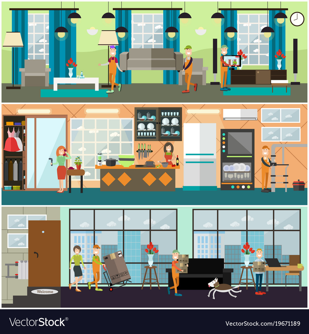 Plumbing moving and delivery services concept vector image