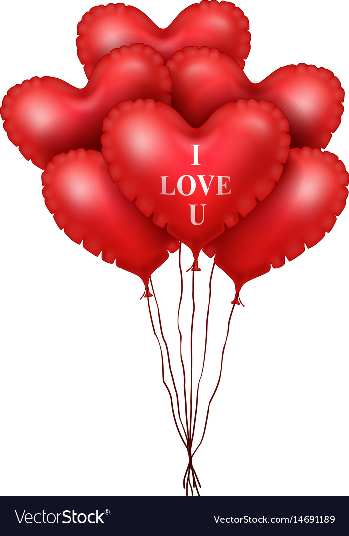 Red heart balloons isolated on white background