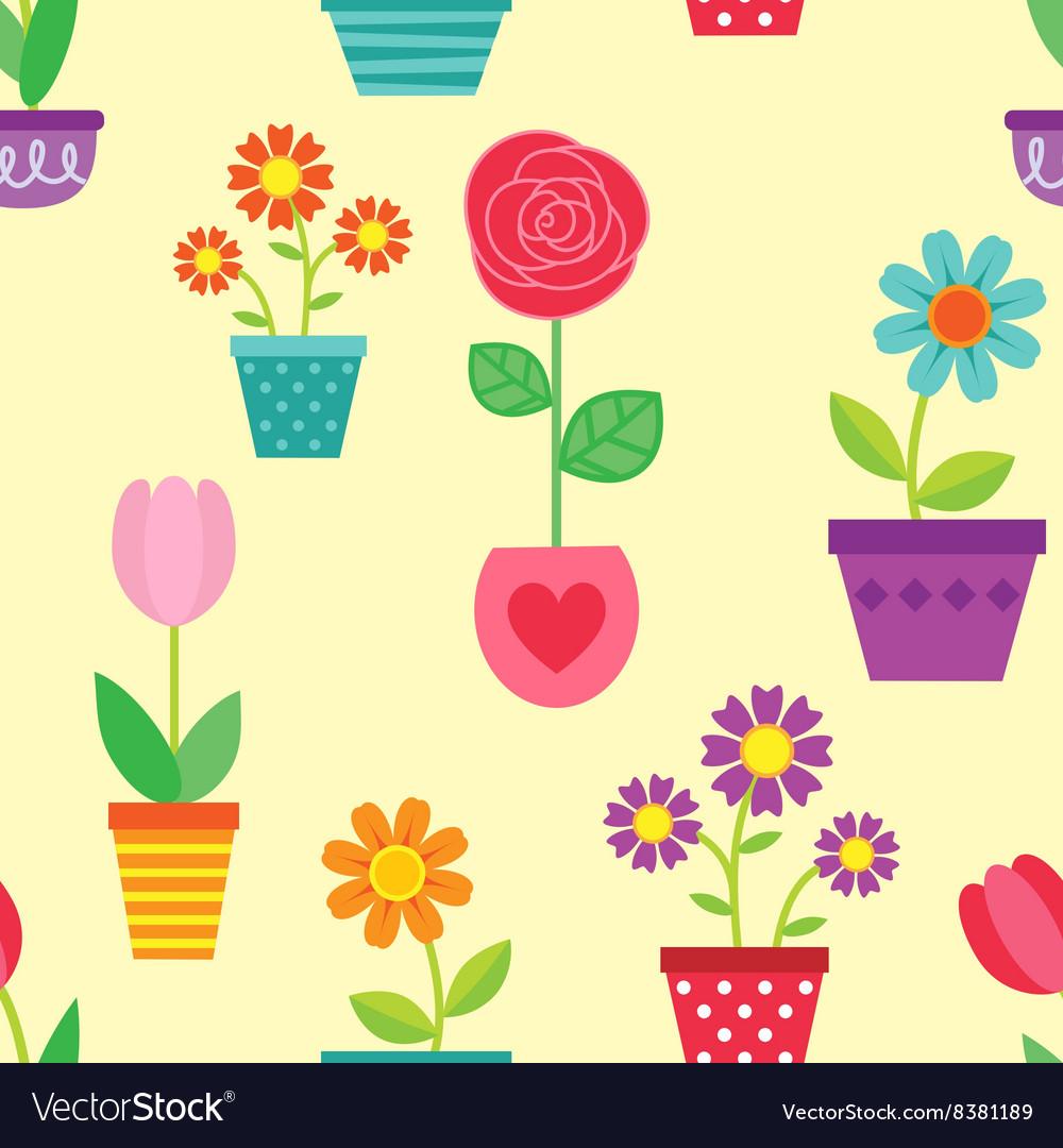 Seamless pattern of flowers in pots
