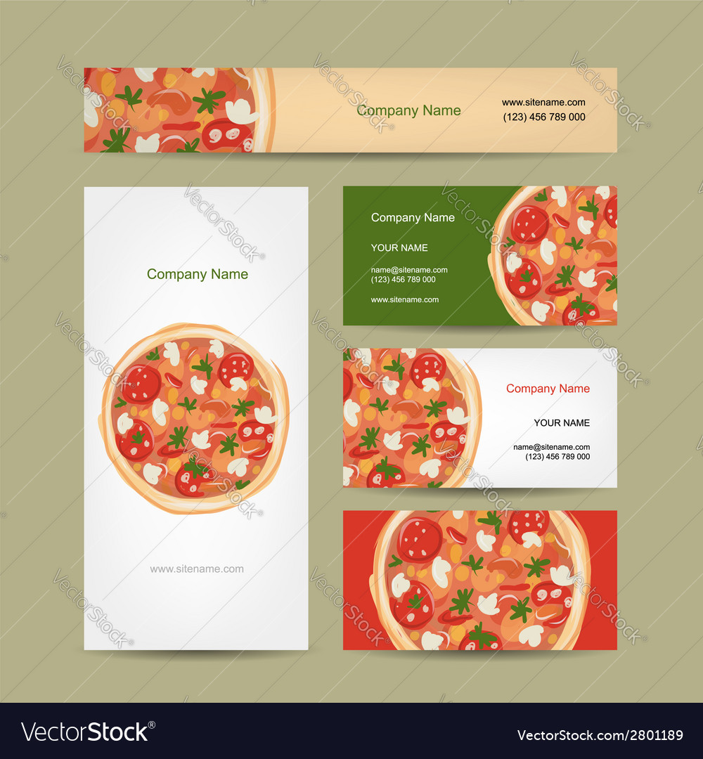 Set of business cards design with pizza Royalty Free Vector