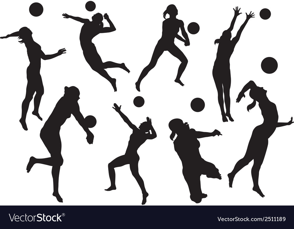 Illustration Abstract Volleyball Player Silhouette: Silhouettes Beach Volleyball Royalty Free Vector Image