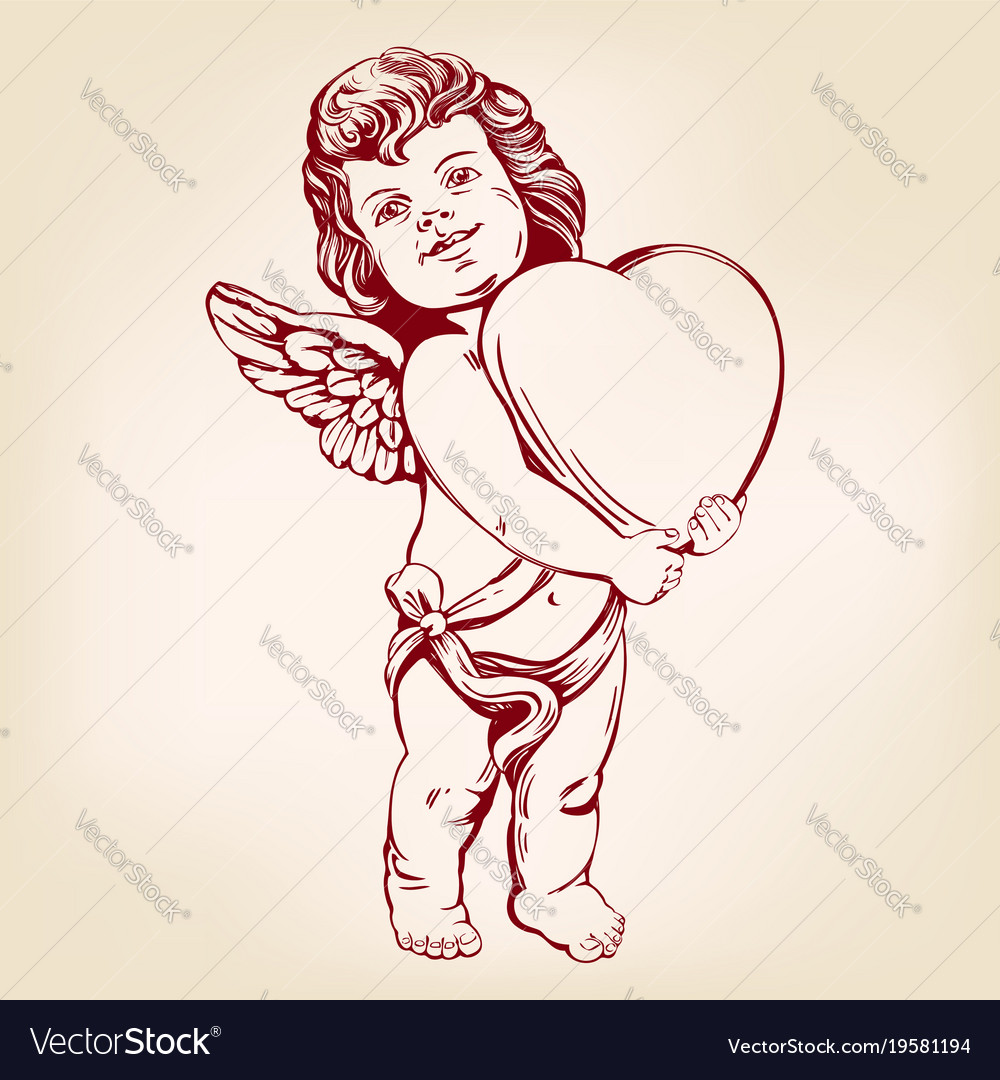 Angel or cupid little baby holds a heart