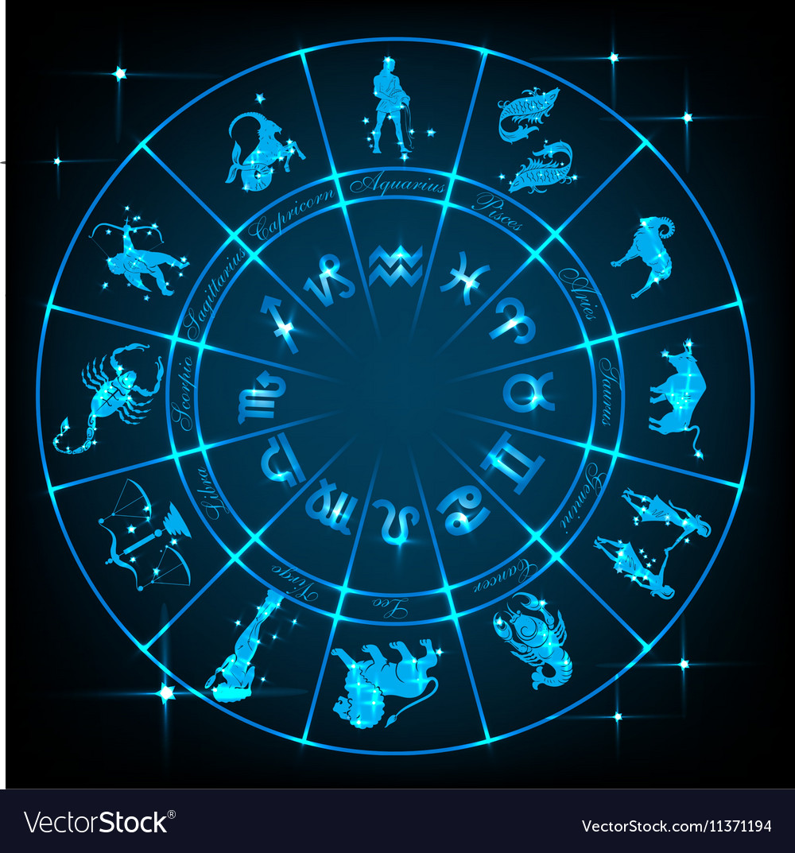 Blue horoscope circle vector image