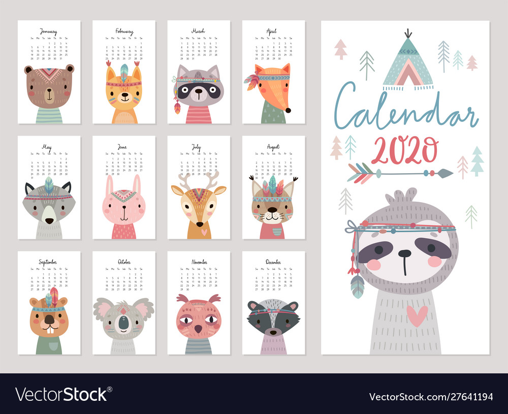 Calendar 2020 cute monthly calendar with woodland