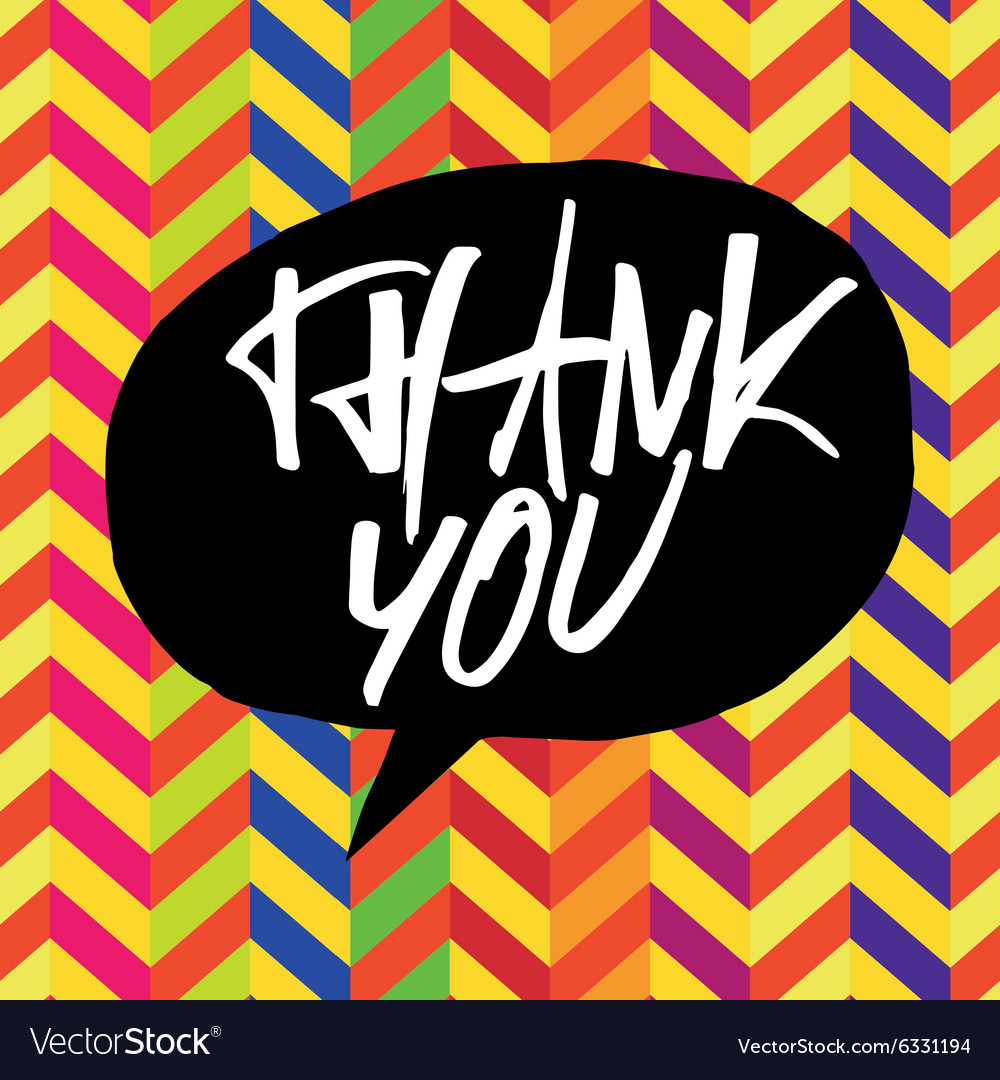 Colorful chevron thank you vector image