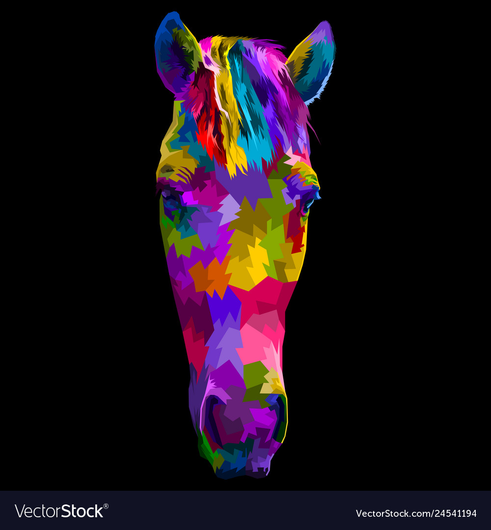 Colorful horse head with abstract modern