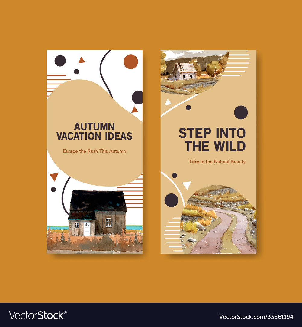 Flyer template with landscape in autumn design