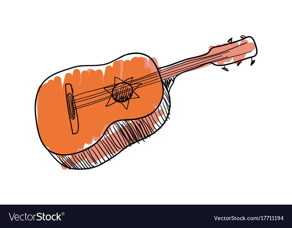 Guitar music instrument hand drawn icon