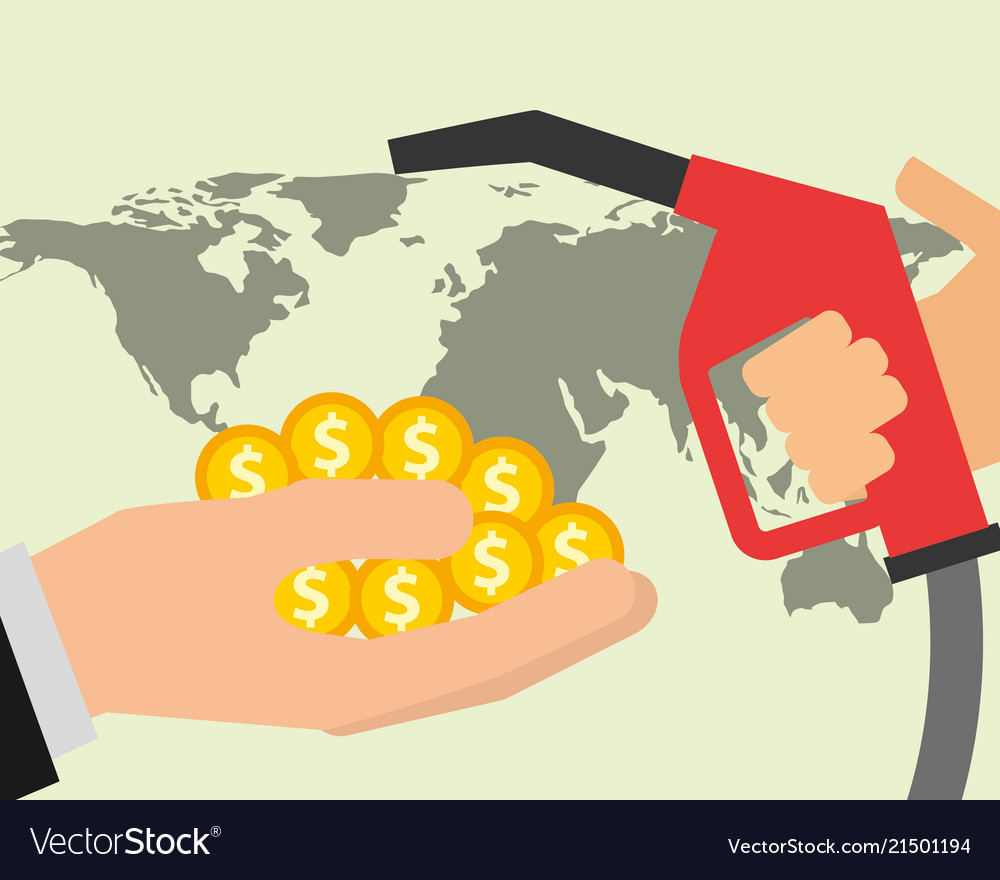 Hand dispenser gasoline money and world oil Vector Image