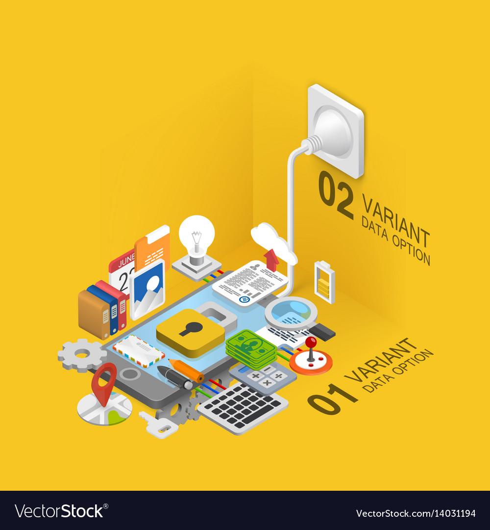 Mobile development icons set
