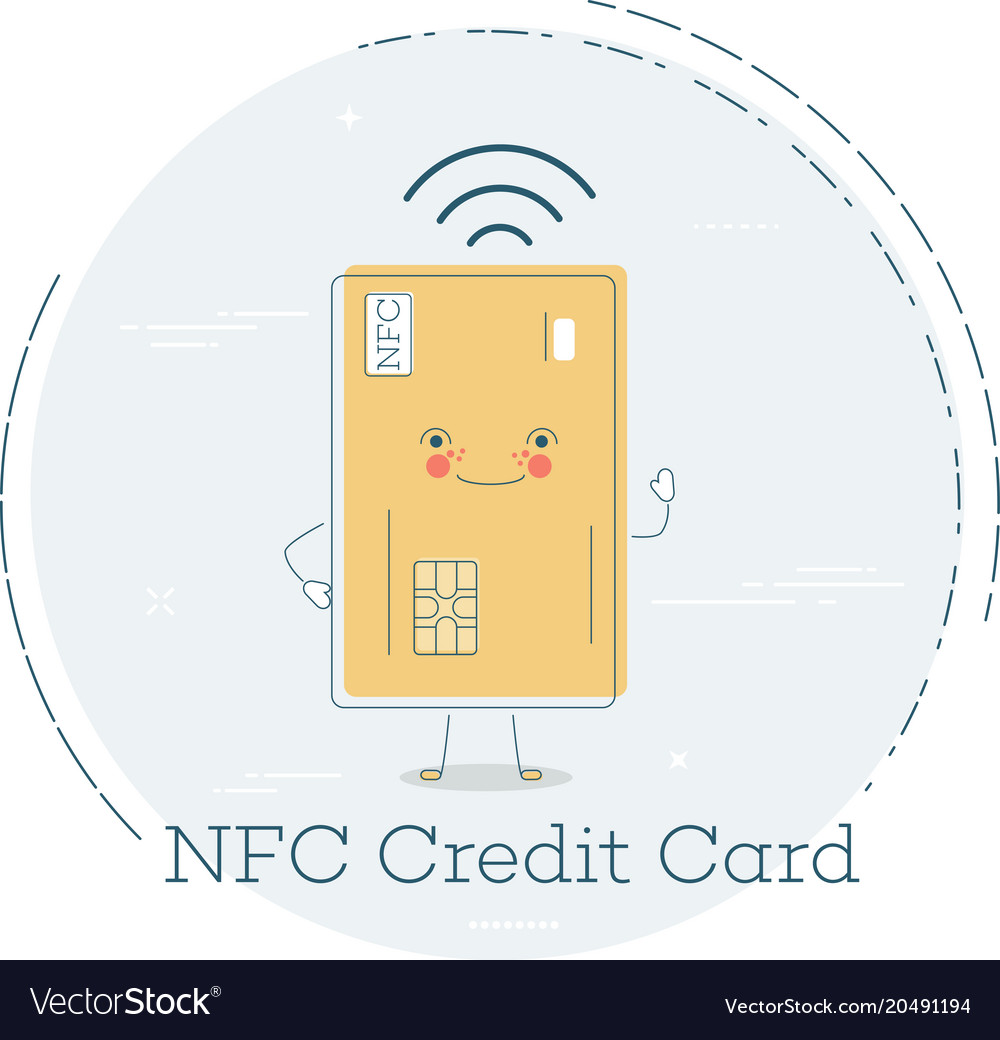 Nfc credit card concept in line art style