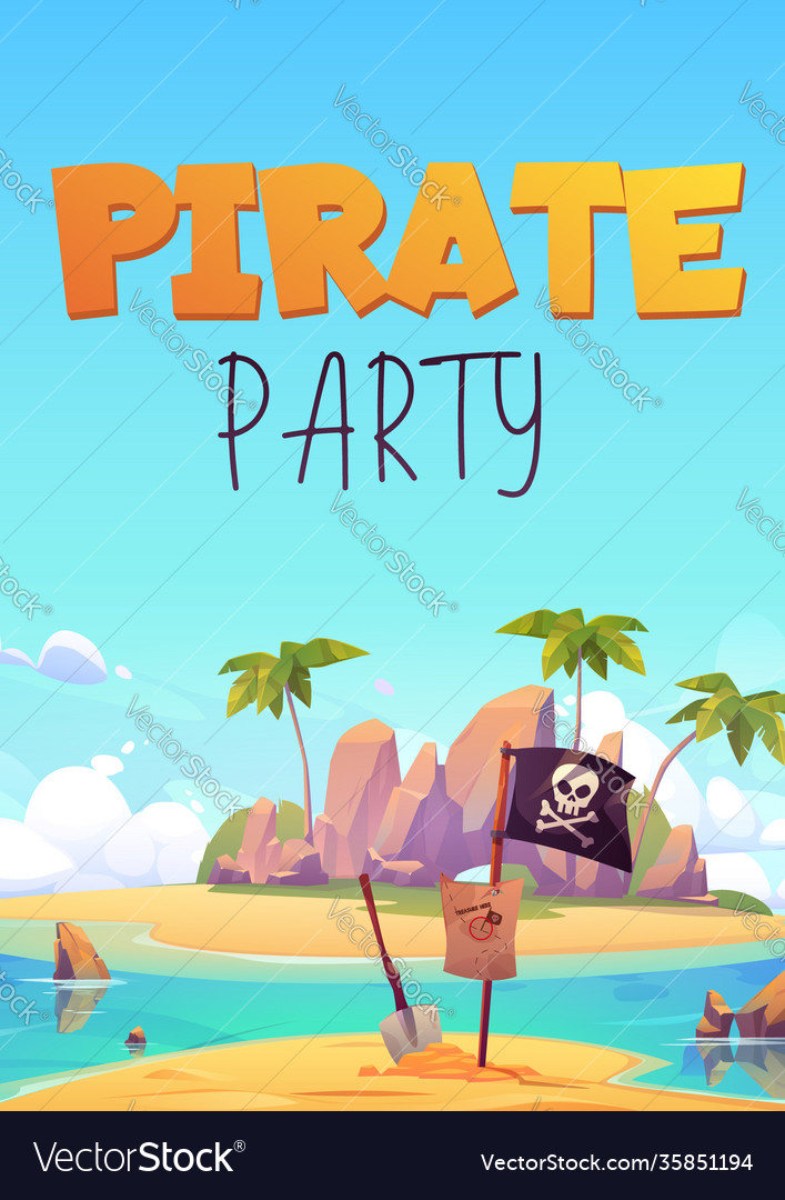 Pirate party flyer with island and black flag