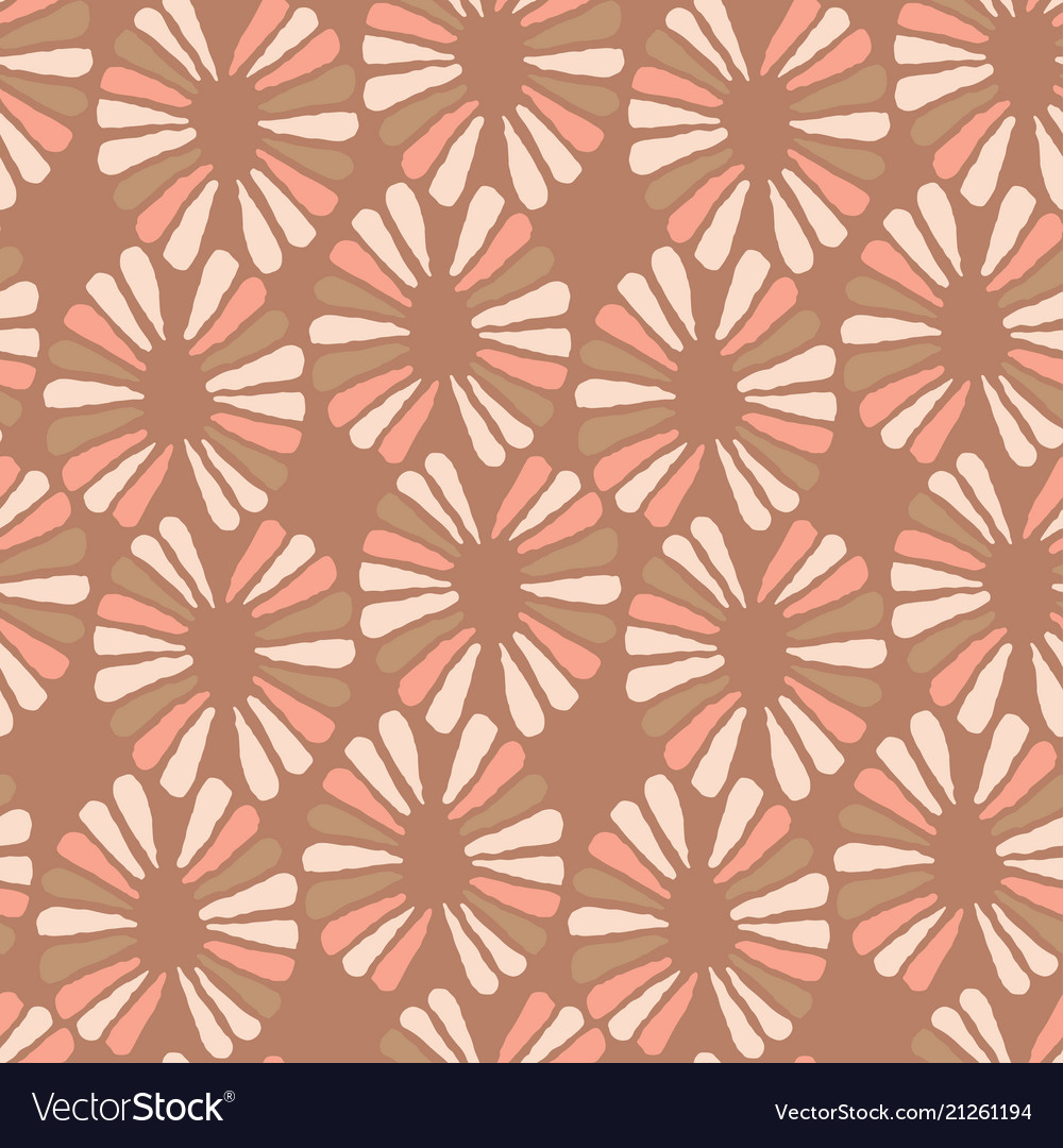 Seamless coffee pattern with retro flowers