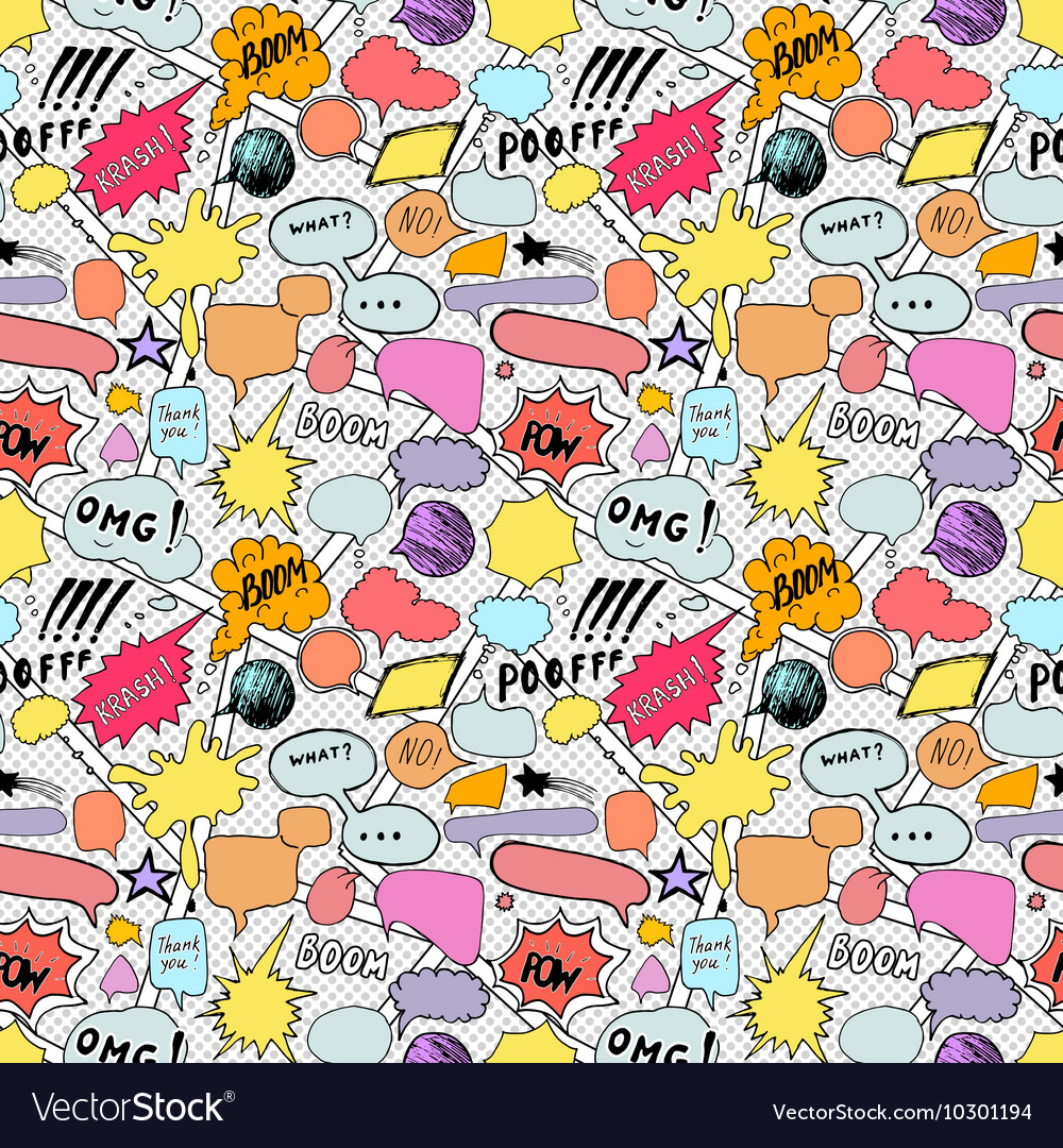 Seamless pattern background with handdrawn comic