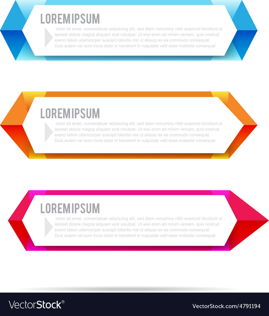 Set of label banner polygon element background