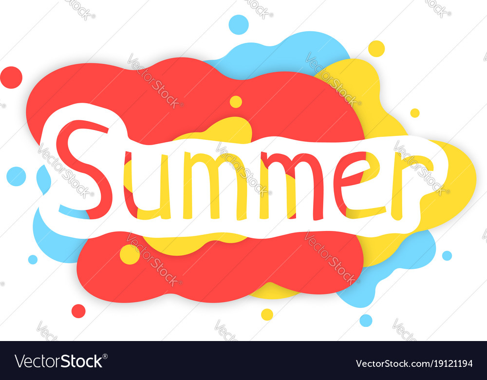 Summer colored abstract logo with shadow