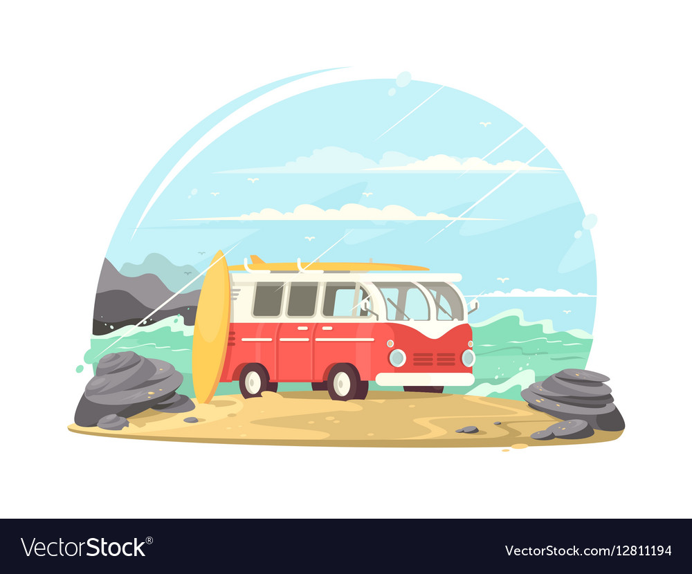 Surfing van with boards