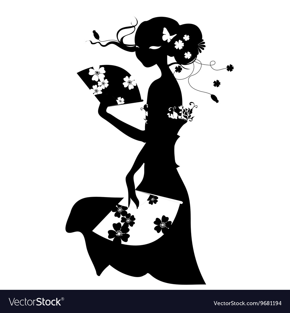 Woman with fan in long dress vector image