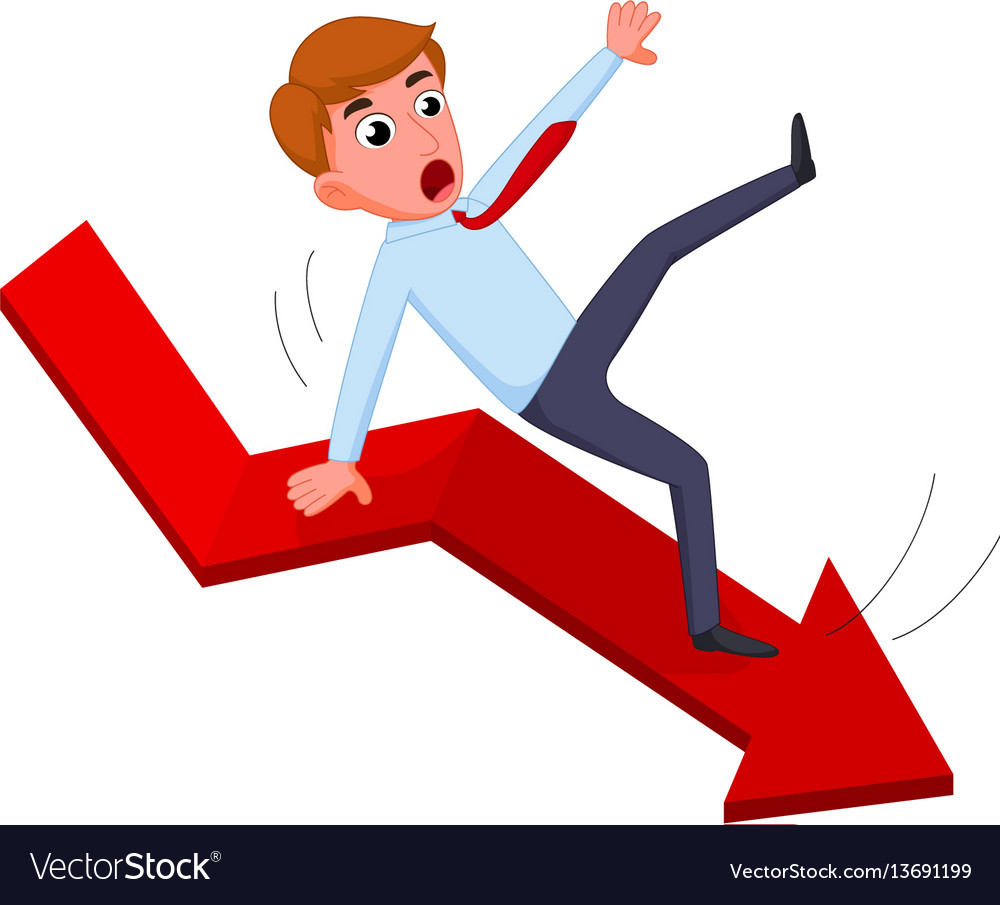 Businessman falling from the red chart arrow vector image