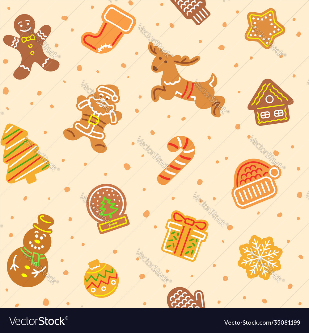 Christmas gingerbread cookies seamless pattern