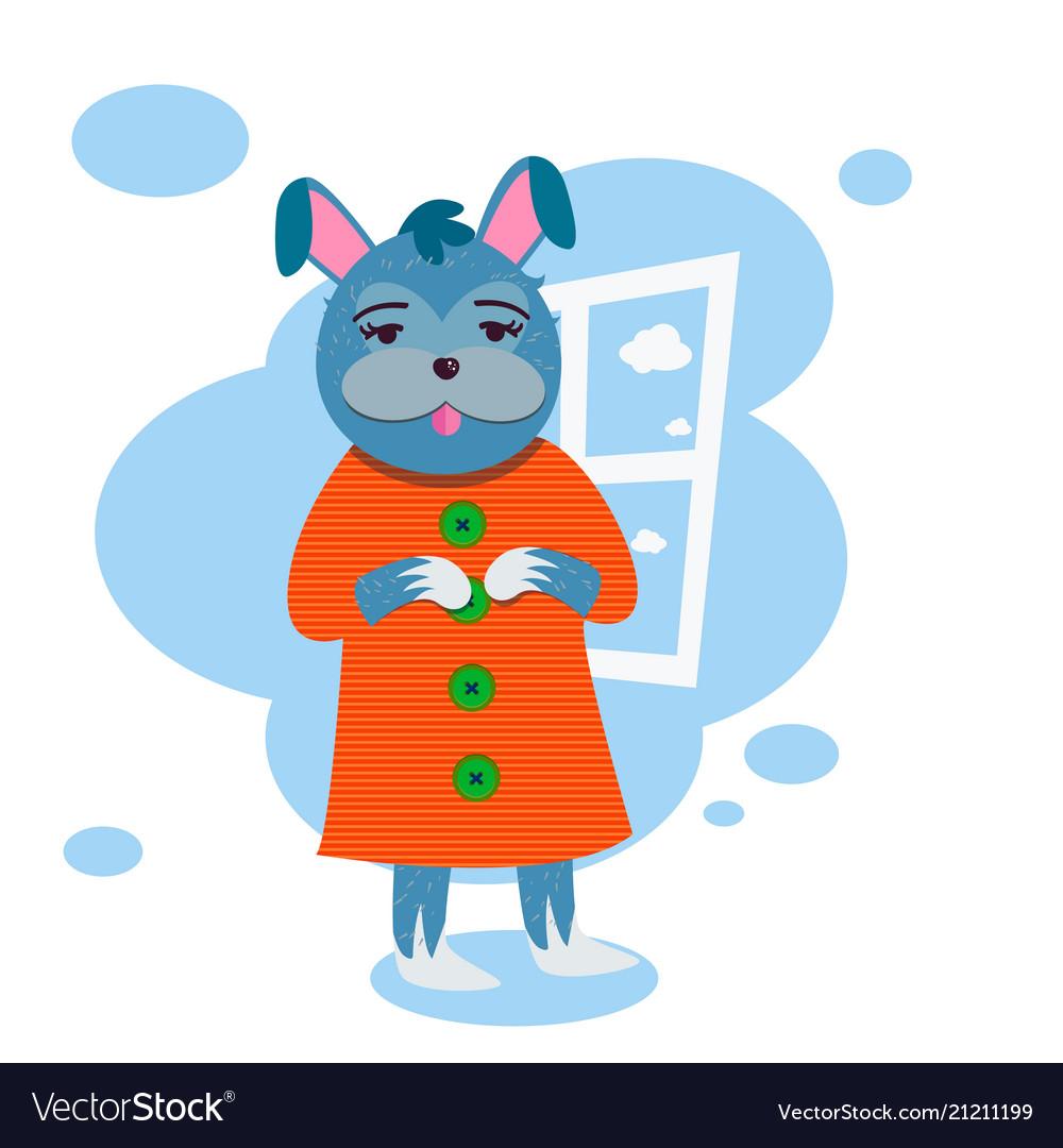 Funny rabbit girl in dress below window