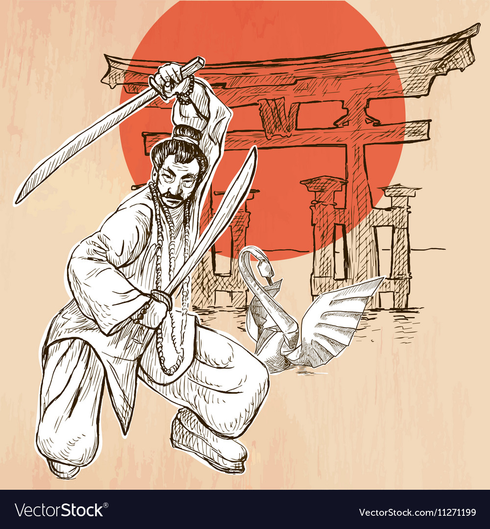 Japan An Warrior Shinto Swan An hand drawn picture vector image