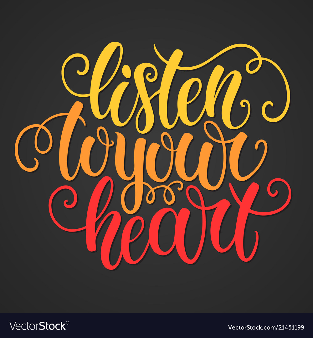 Listen to your heart hand lettering doodle