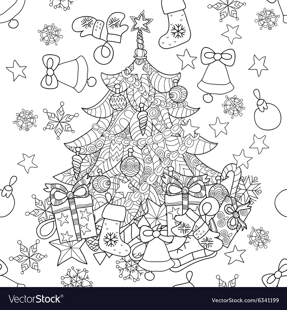 Merry Christmas zentangle fir tree doodle Vector Image