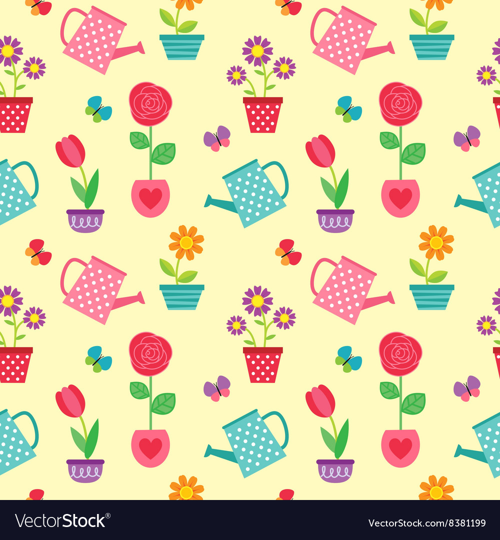 Pattern of flowers in pots and watering cans vector image