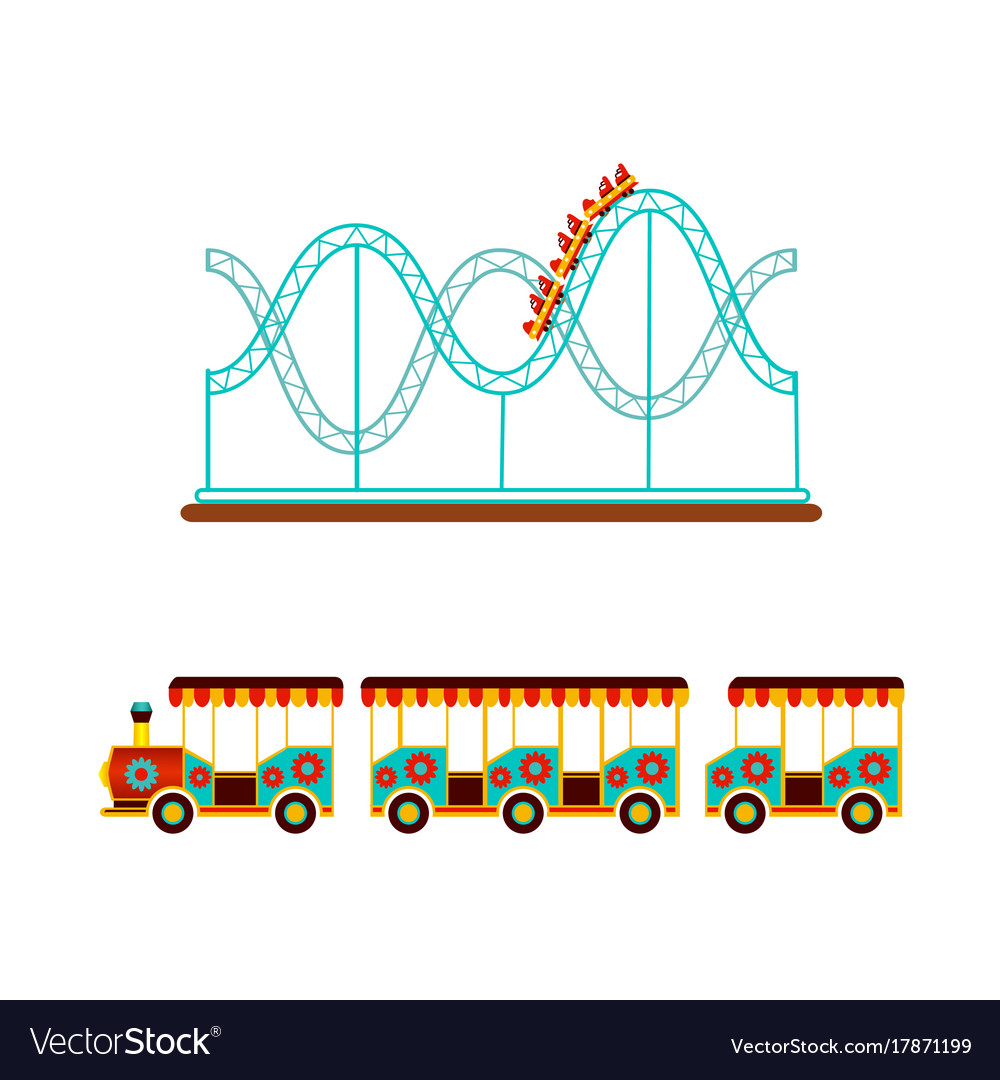 Rollercoaster And Train Ride In Amusement Park Vector Image Diagram