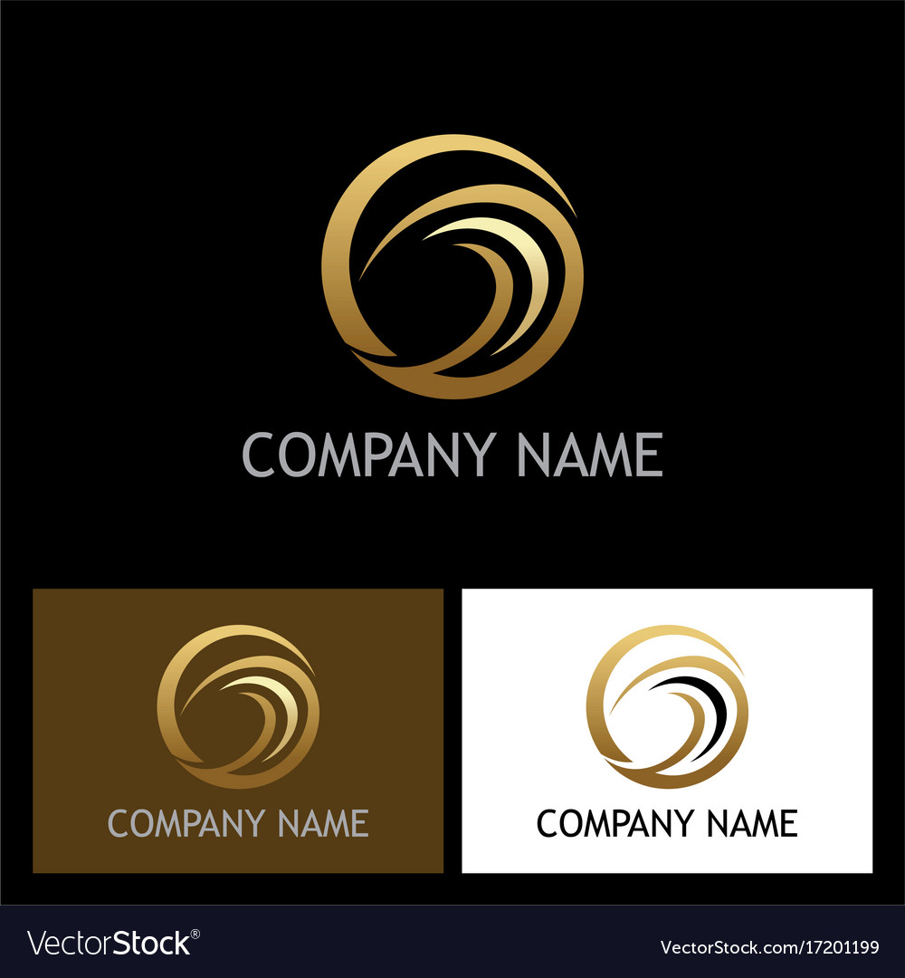 Round abstract gold company logo