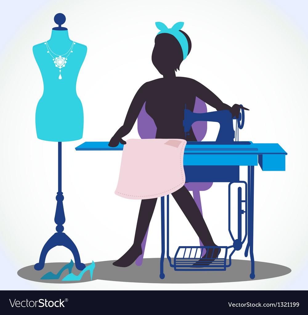 самый рисунок швея за швейной машинкой товарный вид