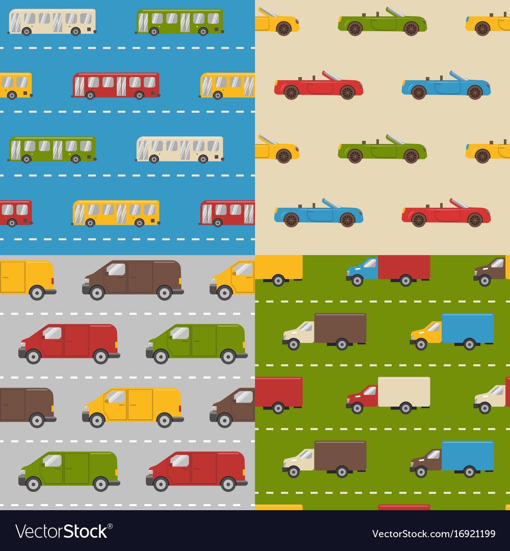 Set of seamless patterns with colorful cars