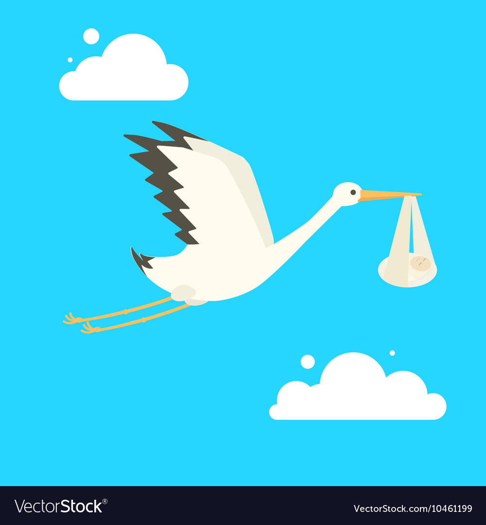 Stork delivering baby cartoon