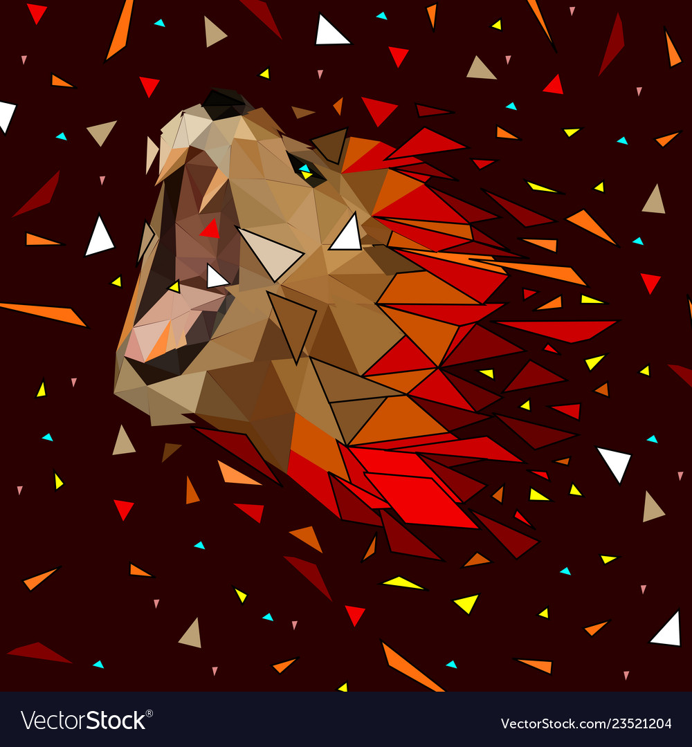 Abstract of low poly lion with line connecting