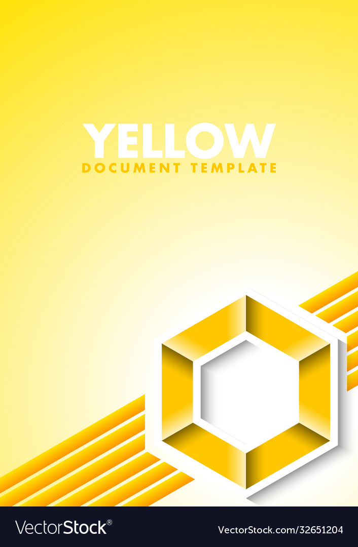 Abstract yellow document template with lines and