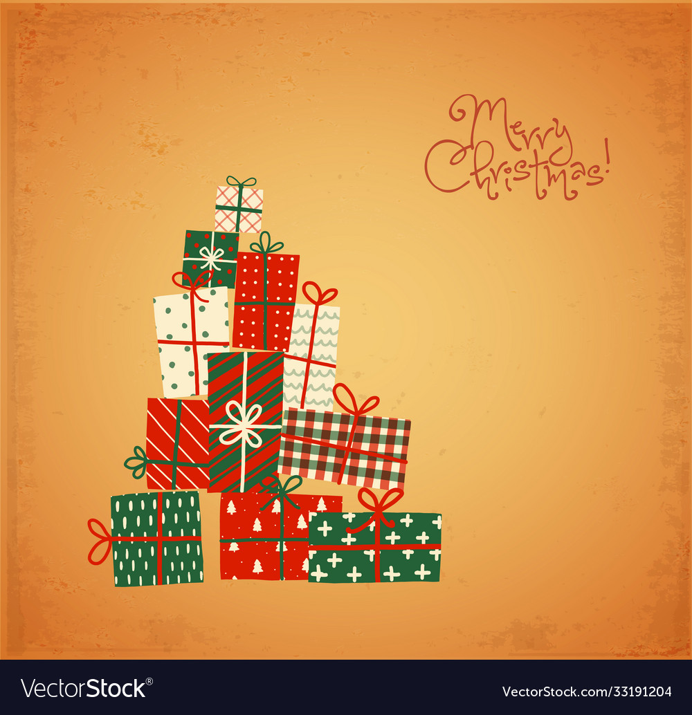 Christmas greeting card with gift boxes in vintage