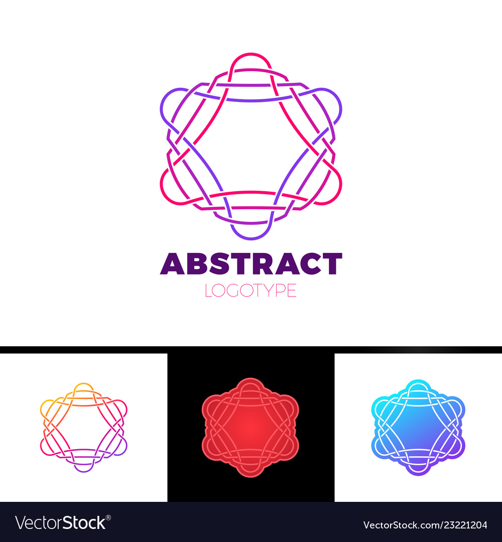 Colorful abstract line star logo design